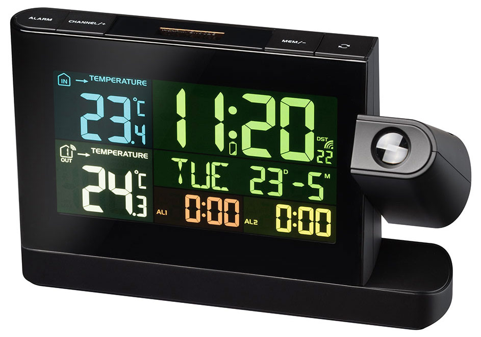 Bresser Projection Clock with Color Display, black