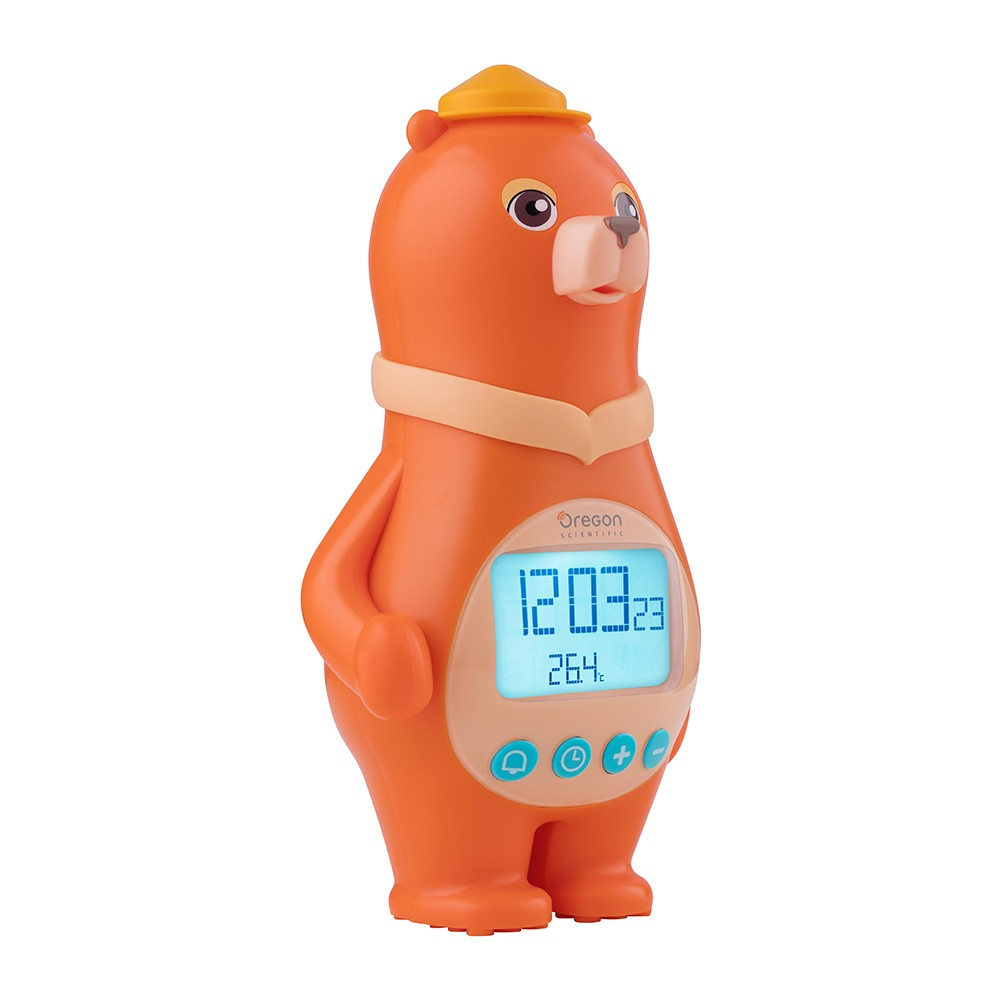 Oregon Scientific Bear Clock with Temperature & Calendar, orange Batteries only. The perfect gift for a child's bedroom.