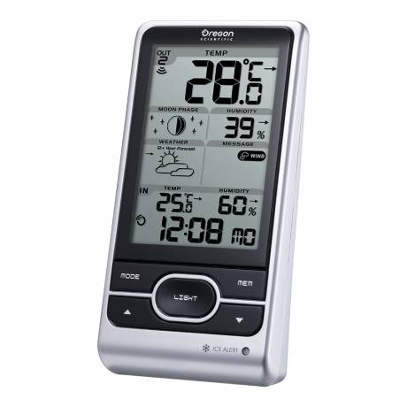 Oregon Scientific Wireless Weather Station with Humidity and Weather Alert Room temperature and humidity measurement. Radio-controlled time with calendar function.