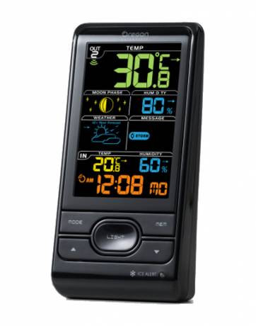Oregon Scientific Wireless Weather Station with Humidity & Weather Alert, black LCD-Display: moon phase, indoor/outdoor humidity, time.